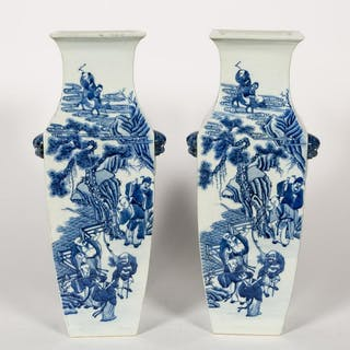 Pair, Chinese Blue & White Figural Motif Vases