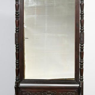 Chinese Carved Wooden Floor Cheval Mirror