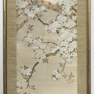 Chinese Framed Hanging Scroll of White Blossoms
