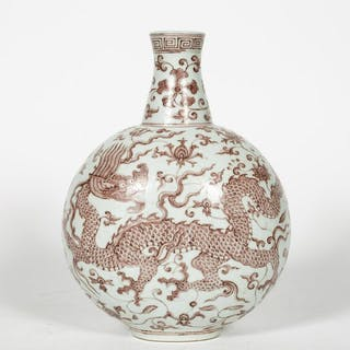 Chinese Iron Red Dragon Motif Porcelain Vase