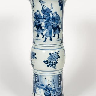 Chinese Blue & White Gu Form Landscape Vase
