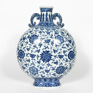 Chinese Blue & White Floral Motif Moon Flask