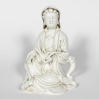 Signed Blanc de Chine Quanyin Porcelain Figure