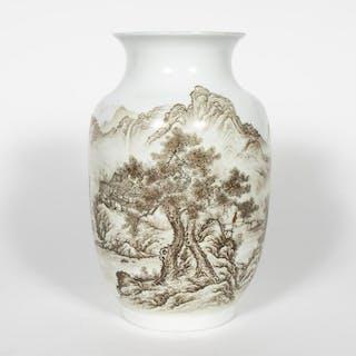 Chinese Porcelain Grisaille Landscape Vase