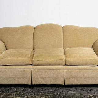 Edward Ferrell Beige Rolled Arm Upholstered Sofa