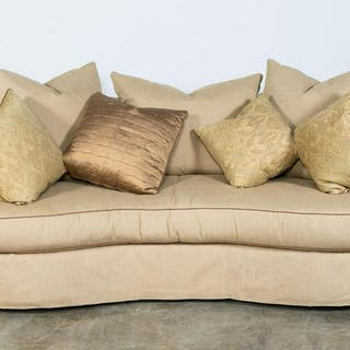 Henredon Rolled Back Tan Sofa with Throw Pillows