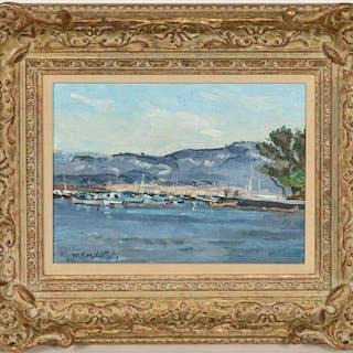 """Robert Mendoze """"Bateaux Au Brsuc"""" 2000 Oil"""