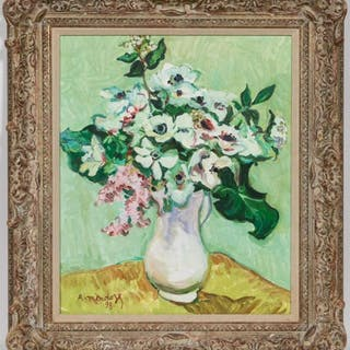 "Robert Mendoze ""Bouquet Blanc"" 1998 Oil"