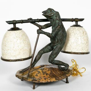 Maitland Smith Dual Shade Frog Bronze Table Lamp