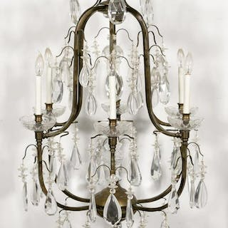 Louis XV Style Crystal Six-Light Chandelier