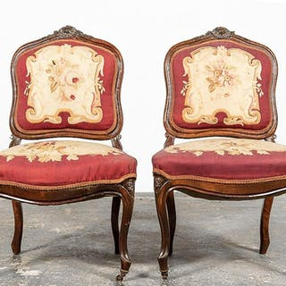 Pair, 19th C. Louis XV Style Side Chairs