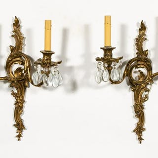 Pair,  Louis XV Style Two Light Brass Wall Sconces