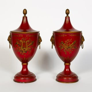 Pair, Red Tole Painted Regency Style Chestnut Urns