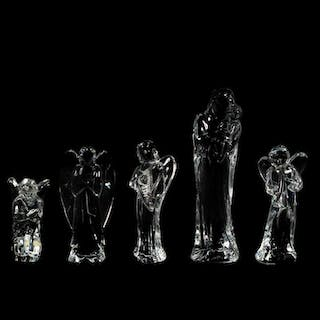 Group of Seven Baccarat Crystal Religious Figures