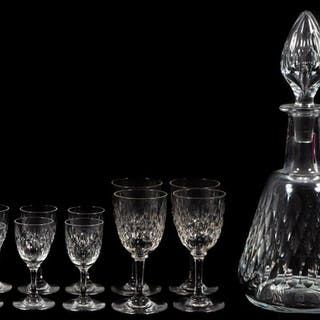 Baccarat Crystal Decanter and Ten Glasses