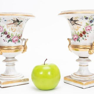 Pair, 19th C. Old Paris Porcelain Urns