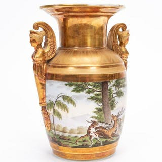 19th C. Old Paris Porcelain Hunt Scene Urn