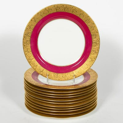 Twelve Limoges Gold Encrusted Dinner Plates