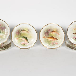 Eleven Signed Limoges Porcelain Fish Motif Plates