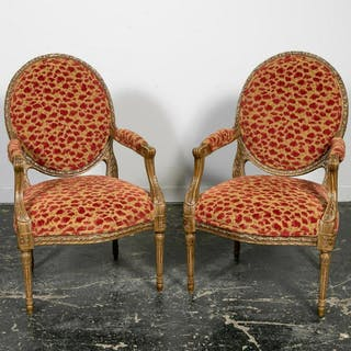Pair, Louis XVI Style Oval Back Fauteuil Armchairs