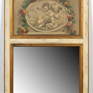 Louis XVI Style Partial Gilt Trumeau Mirror
