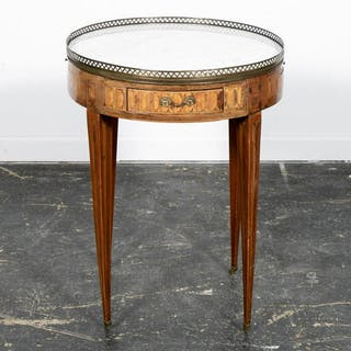 Louis XVI Style Marble Top Inlaid Bouillotte Table