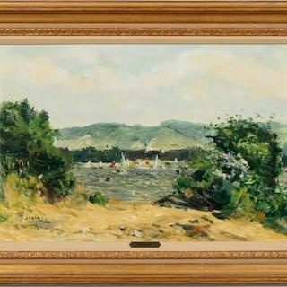 """Gaston Sebire """"Voliers a Muida"""" Landscape Scene"""