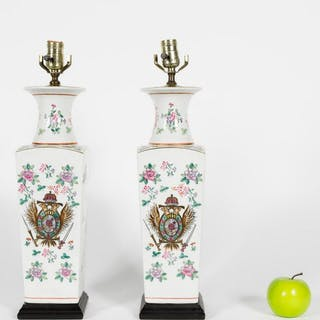 Pair of Samson Style Armorial Table Lamps