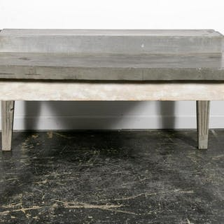 20th C. French Zinc Top Painted Market Table