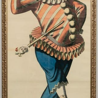 Vintage French Jester Poster Lithograph