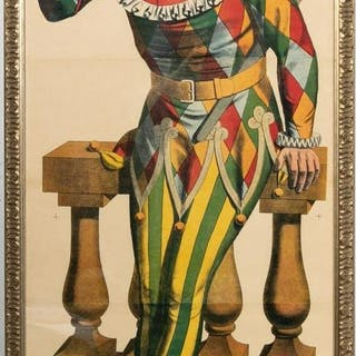 Vintage Framed French Jester Poster Lithograph