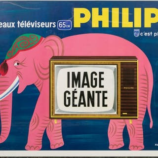 Vintage French Philips Elephant Lithograph Poster