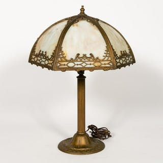 Miller & Co. Art Nouveau Six Panel Slag Glass Lamp
