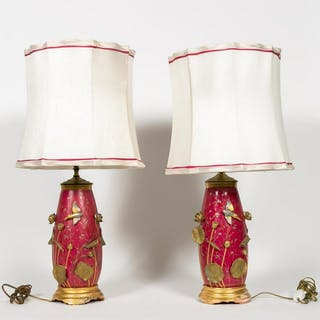 Pair, Aesthetic Movement Lamps with Water Lilies