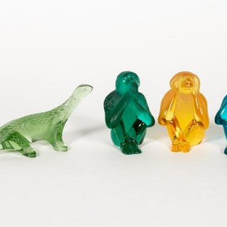 4 PC. Crystal Group Daum Monkeys & Lalique Dragon
