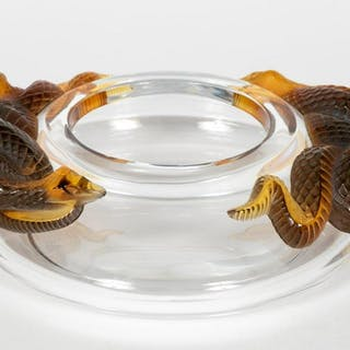 "Lalique Crystal and Amber ""Serpents"" Bowl, Signed"