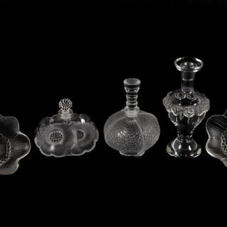 Lalique Crystal 3 Perfume Bottles and 2 Anemones