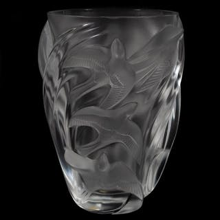 "Lalique Crystal ""Martinets"" Bird Vase"
