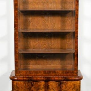 Continental Art Deco Walnut Vitrine Cabinet