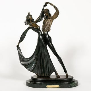 "After Louis Icart ""Tango"" Bronze Figural Sculpture"