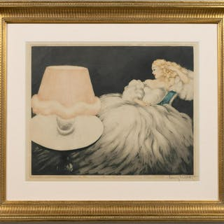 "Louis Icart  ""Lamp Shade"" Drypoint Etching"