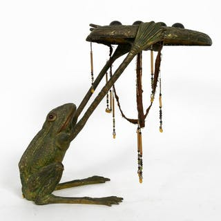 Art Nouveau, Austrian Bronze Frog Table Lamp