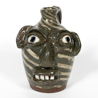 Burlon Craig Face Jug, NC Folk Art Pottery