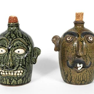 Two Luck Family Signed Folk Art Face Jugs