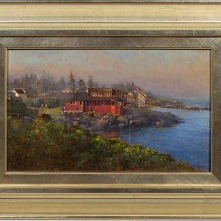"Peter Poskas, ""Red House on Monhegan Island"" Oil"