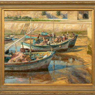 "Tom Hughes, ""Mediterranean Low Tide"" Oil Painting"