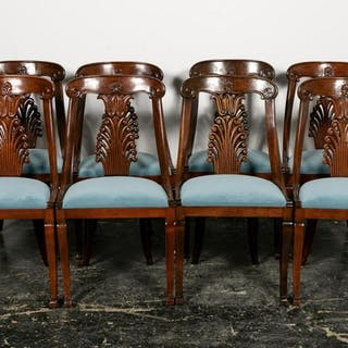 Set, Eight Classical Revival Mahogany Side Chairs