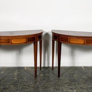 Pair, Hepplewhite Style Demilune Console Tables