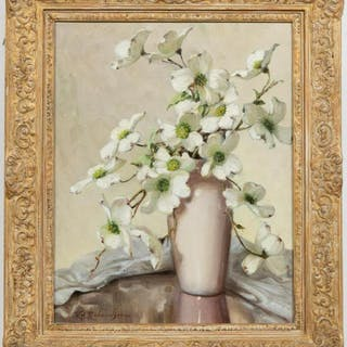 Volney Allan Richardson, Dogwood Still Life, Oil