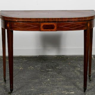 American Federal Inlaid Demilune Card Table